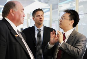 NWT Premier Bob McLeod (left), Cameron Zubko, vice-president of Ice Wireless and Sean Yang, president of Huawei Canada at a signing in Shanghai, China, in September. Photo courtesy of Cameron Zubko