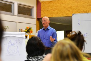 Glen Taylor, a consultant in the field of minority francophone education in Canada, was at Ecole Boreale on March 21 to speak to parents about ways they can use French at home.  Myles Dolphin/NNSL photo