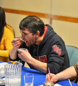 Myles Dolphin/NNSL photo Judge Don Mabbitt samples some chilli at the eighth annual Chili Challenge, held at the Royal Canadian Legion on April 27.