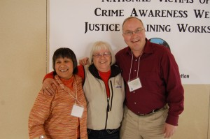 Angele Cano/NNSL photo  Compassion fatigue workshop facilitator Doreen Reid, Bobbi Hamilton and Roy Kaiser at Chief Lamalice Complex on KFN for a two-day compassion fatigue workshop. The workshop is part of KFN victim's services observance of National Victims of Crime Awareness week.
