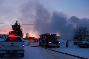 Two pumpers, one rescue vehicle, an ambulance and RCMP vehicle were on scene after the Hay River Fire department was called to a fire on Elm street on April 4. -- Angele Cano