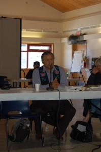 Dene National Chief Bill Erasmus addresses those in attendance at the four-day treaty workshop at the Chief Lamalice Complex on April 9. Angele Cano/NNSL photo