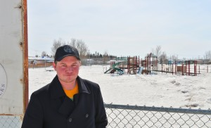 Myles Dolphin/NNSL photo Drug Free Zone Committee Chairperson Keith Dohey stands in front of one of the nine new proposed zones, the Tri-Service Park.