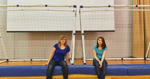 Myles Dolphin/NNSL photo Marisa Carter, left, and Aimée Jacobs helped put together Princess Alexandra School's brand-new indoor soccer nets.