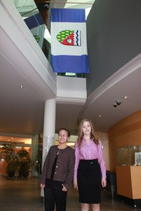 Laura Busch/NNSL photo Two residents of Hay River – Elycia Nimegeers, left, and Kateryna Staszuk – participated in the 12th Youth Parliament at the legislative assembly.