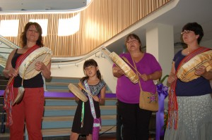 The Granddaughters of the Drum helped bless the newly reopened Diamond Jenness Secondary School on June 29, representing several generations of women and several aboriginal communities. The drummers included, from left, Jessie Carriere, Ashlyn Angiers, Kim Beaulieu and Jacquie Carriere. -- Sarah Ladik/NNSL photo