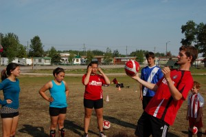 Sarah Ladik/NNSL photo From left, Alicia Hayne, Hailey Pike, Treiva Plamondon and Daniel DaRosa watch as soccer coach Matt Blake demonstrates how to move towards the ball for a header, instead of just waiting for it to hit.