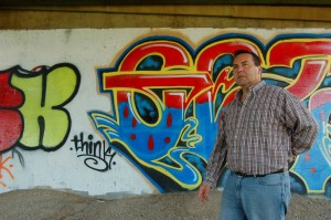 Sarah Ladik/NNSL photo Hay River Metis Council president and local businessman Wally Schumann says it's a shame artistic talent is being used to create graffiti – seen here beneath the Pine Point Bridge – when it could very well be put to good use in fields like graphic design and other creative pursuits.