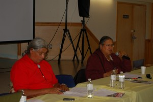 Dene leader Francois Paulette, left, and KFN Chief Roy Fabian speak at the First Nation's 2013 Assembly Aug. 7 at the Chief Lamalice Complex. - photo by Sarah Ladik NNSL