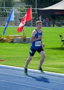 Andrew Lirette runs in the 1,500 metre event at a track meet in Sherwood Park, Alberta in July in preparation for his stint at the Canada Summer Games in Sherbrooke, Quebec. - photo courtesy of Charles Lirette