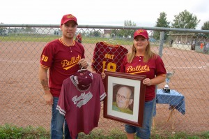 Sarah Ladik/NNSL photo Scott Bolt and Stacey Bolt-Barnes say they were touched by how many people came out in support of their father's memory on Aug. 16 for the first-annual Gord Bolt Slo-Pitch Challenge to raise money for cancer research.