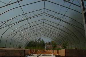 Sarah Ladik/NNSL photo Community members volunteered their time to put up a new greenhouse at the Hay River Community Gardens. Jackie Milne, president of the Territorial Farmers' Association, says the structure will extend the growing season by at least two months.