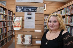 Library worker Jessica Mandeville says that while she hasn't worked during the week, the display of Alice Munro books at the Hay River Centennial Library is nearly empty, showing how the author's popularity has skyrocketed since her Nobel Prize win. -- Sarah Ladik/NNSL photo