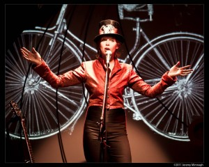 Evalyn Parry's SPIN is a show that blends the rise of advertising and the beginnings of the women's suffrage movement in a multi-media show centered around the bicycle. It will be in Hay River Oct. 18. -- photo courtesy of NACC