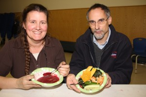 Paul Bickford/NNSL photo Participants at an Oct. 16 workshop to help gather information for a plan on sustainable agriculture in Hay River – including Jackie Milne and Francois Lamy – were quite appropriately treated to a supper featuring food that was virtually all grown in the community.