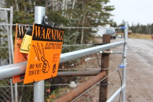 Paul Bickford/NNSL photo Like the rest of the fence around the Hay River landfill site, the gate at the entrance is electrified to keep out bears. However, in early September, a bear walked through the open gate and joined another one trapped inside since the fence was built in June.