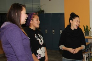 Paul Bickford/NNSL photo Jasmine Norn, left, Payton Norn and Reneltta Arluk from Akpik Theatre sing as part of a theatre workshop held in Hay River from Oct. 25 to 29.