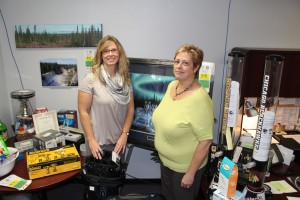 Sarah Ladik/NNSL photo Erin Griffiths, left, and Evellyn Coleman have been stockpiling prizes for this year's Hay River Hospital Foundation's online auction, which they noted includes various items from cars to cupcakes.