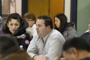 Hay River Metis Council President Wally Schumann asks about cost implacations for the Obed coal slurry spill at the NWT Metis Nation AGA Nov. 21. Photo by Sarah Ladik NNSL
