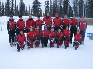 Hay River's biathlon team competed in a Polar Cup race last weekend with some of them getting ready for Arctic Winter Games trials in a few weeks. From left, back row: Elli Cunningham, Simon Pittman, Andrew Lirette, Jared Leblanc, Kjel Crook, Clell Crook, Kaed Blake, Daniel DaRosa, and Michaela Crook From left, front row: Gaius Crook, Devon Beck, Davida Patterson, Treiva Plamondon, Deanna DaRosa, Tenielle Patterson, Jack Coombs, Seth Patterson. Photo courtesy of Chuck Lirette
