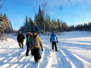 From left, Tom Makepeace, Phuc-Vo, Marina Marshall, and Nancy Makepeace trek across a clearing on Jan. 12. They are part of a hiking club seeking to get people more active in the winter and more engaged with their surroundings. Photo courtesy of Kim Rapati