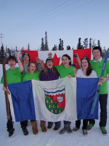 Cara Loverock/NNSL PhotoFeb. 25, 2010Ski club youth, from left, Liam McKay, Angus Wilson, Alice Storrie, Tamika Mulders, Hanna Wilson, Mary Buckland and Oliver Hodgins, wear green in support of NWT's Olympic athlete Brendan Green.