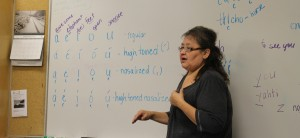 South Slavey instructor Dorothy Buckley demonstrates the tonal differences in accented vowels at a class Feb. 5, hosted at Aurora College. Photo by Sarah Ladik NNSL