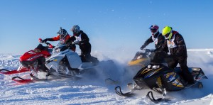Lvor Cli-Norwegion, left, Dylan Carter, Jason Griffiths, and Caden Kaskamin during the final weekend of the Race Hay River circuit Mar. 1. Photo courtesy of Ryan Mills