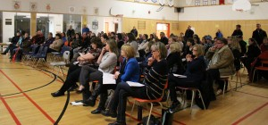 More than 100 people turned out for a public consultation meeting March 4 at Princess Alexandra School to discuss the proposed school swap between Harry Camsell and Ecole Boreale. About 50 people came out for a similar meeting the following night at the French school. Photo by Sarah Ladik NNSL