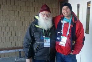 Photo courtesy of Andrew Cassidy Santa Claus, left, and Mayor Andrew Cassidy take a moment to appreciate the weather at North Pole, a suburb of Fairbanks, Alaska. Cassidy was part of a delegation sent by the community to observe the Arctic Winter Games and learn what they could to better prepare the South Slave's bid for the 2018 games.