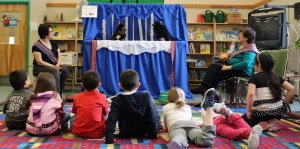 Students filed into the library in small groups March 14 for a puppet show put on by Jacqueline Carriere through the Hay River Metis Government Council with help from the NWT Literacy Council. The project was part of activities for Aboriginal Languages Month. Photo by Sarah Ladik NNSL