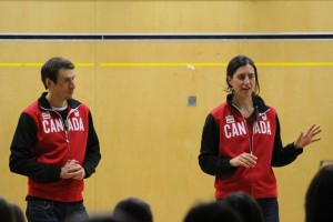 Brendan Green (left) and Rosanna Crawford speak to students at Chief Sunrise Education Centre last week. The two-time Olympic athletes wanted to inspire kids to work hard for their goals and to not let living in Hay River stop them from acheiving their dreams. Photo by Sarah Ladik NNSL