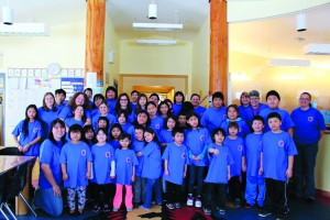 Students and staff at Chief Sunrise Education Centre recieved t-shirts celebrating their commitment to a healthier lifestyle for Drop the Pop week. Photo by Sarah Ladik NNSL