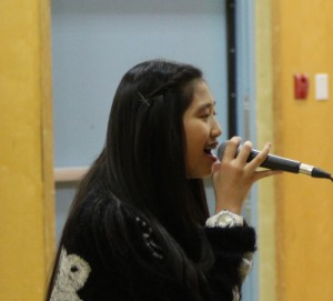 Singer Tea Gonzales performs for students and staff at Chief Sunrise Education Centre April 4. Photo by Sarah Ladik NNSL