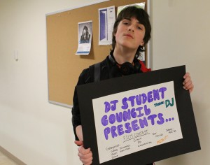 Student council president Sam Hoose does his part to advertise the film constest at DJSS that started last week. He himself hopes to be picked up as an actor for a submission. Photo by Sarah Ladik NNSL