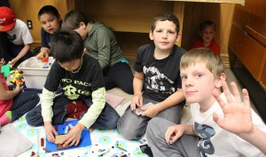 From left, Hayden Braun, Zachary Barnes, and Finn Murrell hang out at the first Lego Club at the library last week. Photo by Sarah Ladik NNSL photo