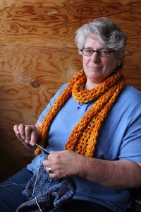 Anne Boudreau says she always carries around a sock-in-progress to work on in quiet moments and hopes the workshops that will be featured at this year's Hay Days festival will inspire other people to get crafty as well. Photo by Sarah Ladik NNSL