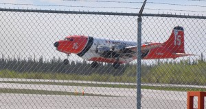 Photo courtesy of Bea Lepine A DC-4 water tanker from Buffalo Air takes off at the Merlyn Carter Airport in Hay River Saturday, May 31.