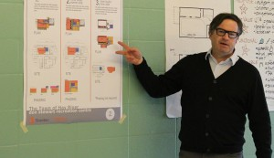 Architect Rodney Kirkwood shows the options currently on the table for the Don Stewart Recreation Centre project at a public consultation meeting May 27. Over 14 user groups participated, along with about 40 members of the public at large. Photo by Sarah Ladik NNSL