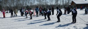 Skiers get ready for a mass start at the PTUB races March 30 at the Hay River Ski Club. Photo courtesy of Chris Irvine