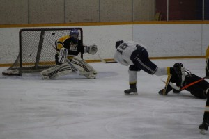 Hay River's own number 18, Jeff Groenheyde takes a shot against the La Crete Lumberjacks Feb. 22. Photo by Sarah Ladik
