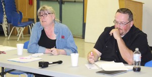 Hay River South MLA Jane Groenewegen, left, and Hay River North MLA Robert Bouchard, defend themselves at a constituency meeting June 25 at the community hall. Photo by Sarah Ladik NNSL