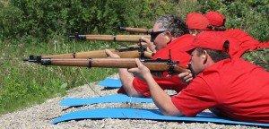 Hay River's Rangers take aim at targets at the shooring range in a demonstration for a delegation of military personnel from Norway June 25. Photo by Sarah Ladik NNSL