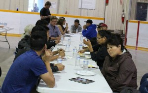 Sarah Ladik/NNSL photo Kakisa residents evacuated to Hay River were served a fish fry and barbecue Thursday night as a joint effort between the Hay River Metis Government Council and municipality of Hay River.