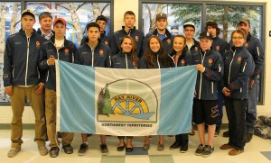 Sarah Ladik/NNSL photo Athletes from Hay River headed to the North American Indigenous Games got their official gear last week. They head to Regina for the weeks of sports and cultural activities later this month.