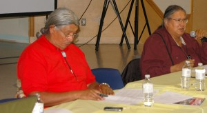 Dene leader Francois Paulette (left) and KFN Chief Roy Fabian speak at the First Nation's 2013 Assembly Aug. 7 at the Chief Lamalise Complex. Photo by Sarah Ladik NNSL