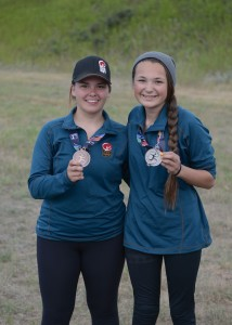 Treiva Plamondon and Davida Patterson show off their medals from the riflery competition last week at the North American Indigenous Games in Regina. – photo courtesy of the NWT Aboriginal Sports Circle