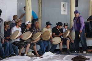 Drummers from Wrigley warm up before the tournament begins at the arbour on the Hay River Reserve Saturday, Aug. 2. -- Sarah Ladik/NNSL photo