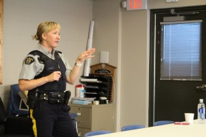 Sarah Ladik/NNSL photo Recruitment officer Cpl. Wendy Picknell gives a presentation on how to get started in a career with the RCMP at the new fire hall Sept. 4.