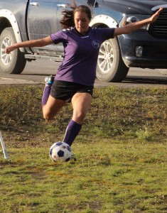 Sarah Ladik/NNSL photo DJ's Madison Loutit makes a corner kick during a game against Ecole Boreale at a game at PA field Saturday, September 20.